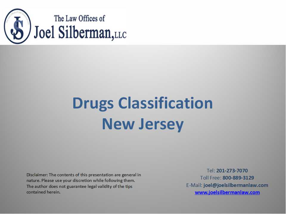 Drugs Classification New Jersey