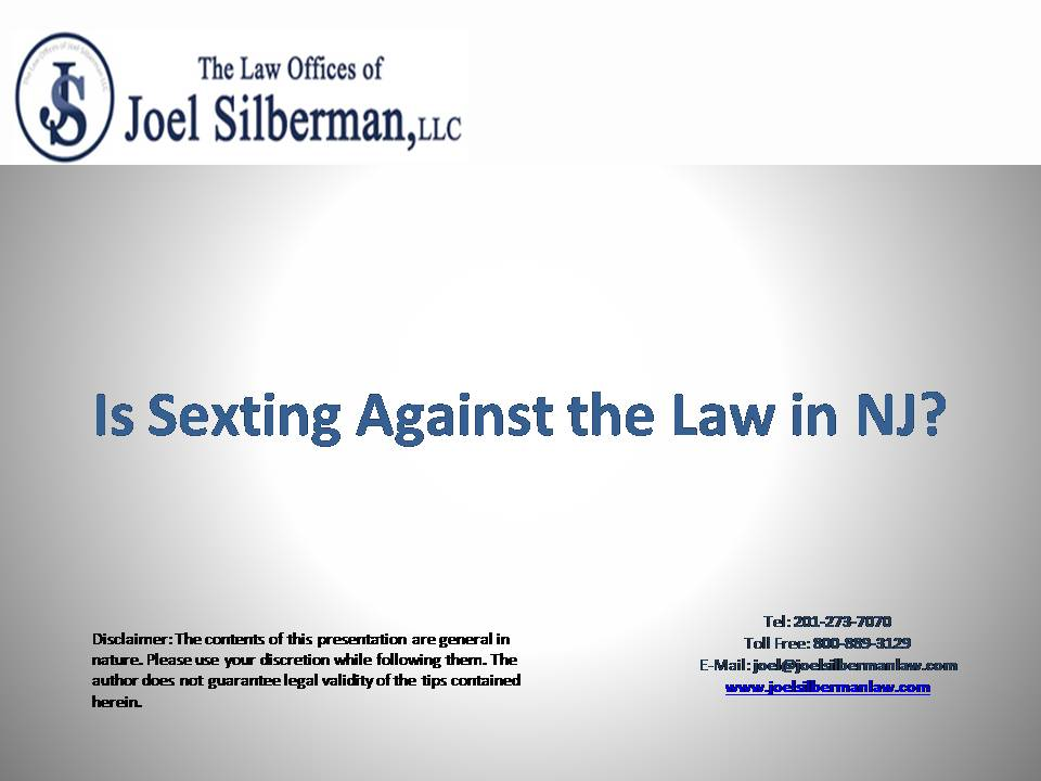 If you are charged with sexting,then sex crime defense lawyers at the Law  office of Joel Silberman in New Jersey can help. For any information, call  us at ...